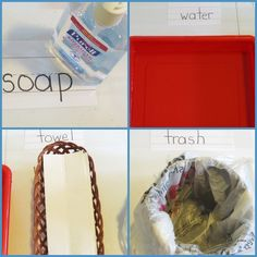 Learning about clean hands at the hand washing station as part of the 30 Day Purell Challenge shared by Teach Preschool