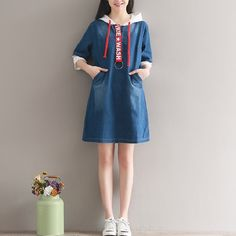 1e05b0947a30 2017 New Preppy Style Summer Women Mini Denim Dress Hooded Half Sleeve  Loose Vestidos Casual Letter Printed Tunic Dress  25-in Dresses from Women s  Clothing ...