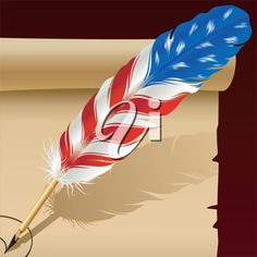 iCLIPART - Royalty Free Clip Art Image of a Feather Pen in the Colors of the American Flag