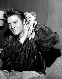 Elvis with Sweetpea, the dog he gave to his mom!