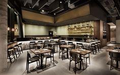 interior design, restaurant, bar, wood, industrial floor, dining area, open ceiling, wine cabinet, barstools, Enso Sushi & Grill by DIA – Dittel Architekten