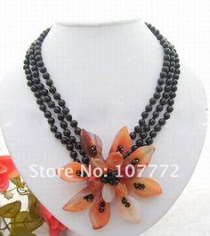 3 strands Onyx Carnelian Flower Necklace