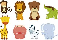 Illustration of A vector illustration of different wild animals cartoons vector art, clipart and stock vectors. Zoo Animals For Kids, Cute Baby Animals, Funny Animals, Wild Animals, Jungle Animals, Farm Animals, Clip Art, Animal Activities, Baby Cartoon