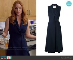 Donna's blue belted wrap dress on Suits. Outfit Details: https://wornontv.net/58905/ #Suits
