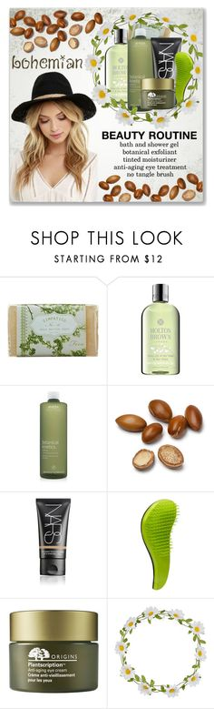 """Boho Beauty Routine"" by mmmartha ❤ liked on Polyvore featuring beauty, K. Hall Designs (Simpatico), Molton Brown, Aveda, NARS Cosmetics, Macadamia, Origins, Carole and Lulu*s"
