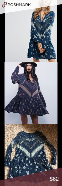Free People Oversized Dress Look fun and flirty in this free People blue dress. Buttons down front and is great for any occasion! No stains or rips. 21 inches from armpit to armpit and 34 inches long. Free People Dresses