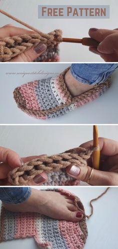 Crochet Unisex Slipper Socks - Crocheted World Crochet For Beginners, Crochet Crafts, Easy Crochet Projects, Macrame Projects, Sewing Crafts, Sewing Projects, Beautiful Crochet, Crochet Clothes, Diy Clothes