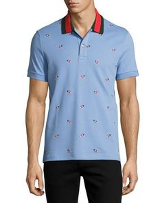 N4SR0 Gucci Cotton Pique Polo with Pierced Hearts