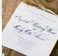 Programs: While the elegant script print emphasized the formality of the day, raffia added a touch of rustic charm.