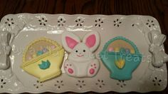 Sweet Easter bunny and easter basket decorated sugar cookies