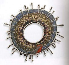Brooch. Polymer clay micromosaic by Cynthia Toops, metalwork by Chuck Domitrovich