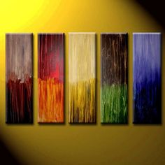 Abstract Multi Color Oil Painting Hand Painted Wall Art - 5 Piece