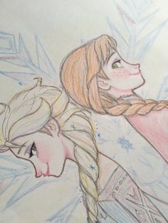 Elsa and Anna Princess Sketches, Princess Drawings, Disney Sketches, Disney Drawings, Cartoon Drawings, Art Drawings, Disney Cartoon Characters, Disney And Dreamworks, Disney Pixar