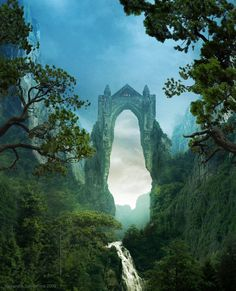 castle gateway over the river - fantasy art
