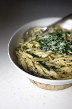 needle point pasta in light blue cheese sauce