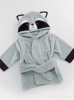 Wrap baby up in snuggly softness with this Forest Friends Raccoon Hooded Spa Robe after bath time! | Forest Friends Raccoon Hooded Spa Robe | Baby Aspen