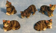 12th Scale Dolls House Assorted Tabby Cats x 5 DA013 | Hobbies