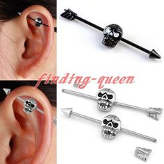 14G Stainless Steel Gothic Skull Arrow Industrial Bar Cartilage Barbell Earrings