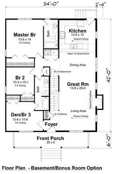 bungalow cottage country traditional house plan 74001 - Floor Plans For Houses