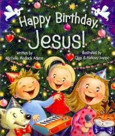 A family decorates the house and bakes a cake to celebrate Christmas, Jesus's birthday. On board pages.