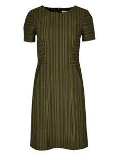 Self Striped Fit & Flare Dress
