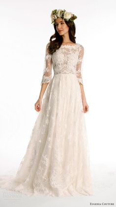 Favorite Fall Wedding Dresses Wedding gown by Joy Collection by Eugenia Couture (Style Kate).Wedding gown by Joy Collection by Eugenia Couture (Style Kate). Spring 2017 Wedding Dresses, Boho Wedding Dress, Dream Wedding Dresses, Bridal Dresses, Lace Wedding, Spring Weddings, Lace Bride, Bride Gowns, Looks Party
