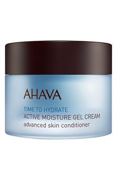 Amazing Moisturizer For Dry/Aging/Sensitive Skin! AHAVA 'Time to Hydrate' Active Moisture Gel Cream Advanced Skin Conditioner available at #Nordstrom $40.00 an ultra-fresh facial moisturizer that utilizes AHAVA's Osmoter™ complex and moisture suspension technology to deliver Dead Sea water that's naturally bound to minerals, activating moisture and helping skin retain its hydration for 12 hours.