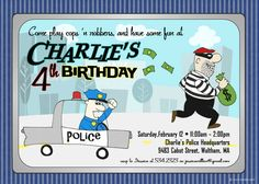 Cops n Robbers Party Invitation - Saturday Morning Cartoon Style Invitation. $16.00, via Etsy.