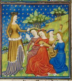 Queen with four women-Royal 16-f3- Description:Detail of a miniatureof a queen with four women playing musical instruments.  Origin:France, N. (Rouen)  Attribution:Talbot Master