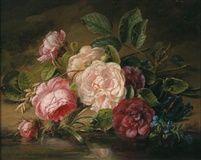 Rosen und Vergißmeinnicht am Bachufer by Adriana Johanna Haanen 1860