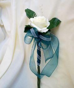Teal silk Wedding Flowers single rose by BudgetWeddingBouquet, $24.00