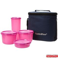 Signoraware Combo Medium Executive Lunch Box With Insulated Bag, Pink