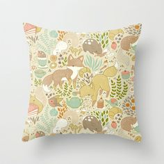 Animal's Tea Party Throw Pillow by Teagan White - $20.00
