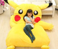 Pikachu Bed  Cure your loneliness by snuggling up with your favorite Pokemon every night on the Pikachu bed. Once this giant Pikachu is sprawled out on the floor his soft and coushiony body provide the ideal resting spot to catch some Zs.  $207.00  Check It Out  Awesome Sht You Can Buy