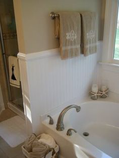 add beadboard and trim around jacuzzi tub