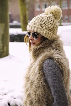 bobble hat and glasses - ski chic