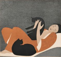 Will Barnet (American, 1911-2012) Woman and Cats.   Auction 2876T   Lot 1014   Sold for $923