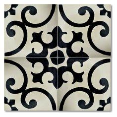 "Moroccan Mosaic Orika 8"" x 8"" Handmade Cement Tile in Black…"