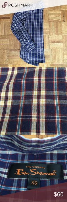Ben Sherman Men's Plaid Dress Shirt 55% cotton, 45% polyester. Like new condition! Navy shirt with light blue, yellow, cream and red plaid. Can be dressed up or down. Ben Sherman Shirts Dress Shirts