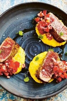 Martin Morales' beautiful escabeche steak recipe is served on a bed of creamed corn. If you can't get your hands on chocolo corn, just use a little extra sweetcorn instead.