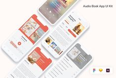 Audio Books App, Ui Kit, App Ui, Wordpress, Phone, Telephone, Mobile Phones