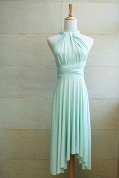 Bridesmaid Dress Infinity Dress Mint Knee Length by craftingsg, $30.00