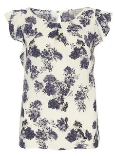 Cream Floral Frill Blouse