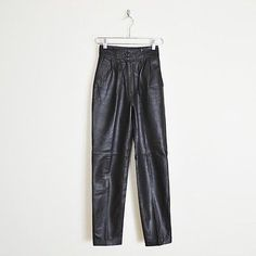 vintage 80s soft LEATHER HIGH WAIST SKINNY leg fit PLEAT trouser MOTORCYCLE pants XS $48.00