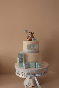 A baby boy christening cake for one of my oldest friends little boy. What a nightmare I had this week with the hot weather,I hate fondant in the heat its not good Baby Boy Christening Cake, Christening Themes, Baby Boy Baptism, Baptism Party, Baptism Cakes, First Communion Cakes, First Birthday Cakes, Baby Birthday, Baby Shower Niño
