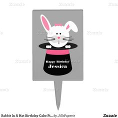 Rabbit In A Hat Birthday Cake Pick - Pink