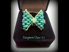 tutorial anello fiocco con twin beads/superduo come fare un anello con perline