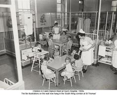 Children in Caleb Diplock Ward at Guy's Hospital, Guy's Hospital, Hospital Humor, History Of Nursing, Vintage Nurse, School Pictures, St Thomas, Nursery Rhymes, Childhood Memories, Saints