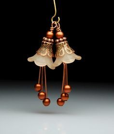 Bead Earring Dangles Brown Beige Lucite Flowers Pair on Etsy, $7.50