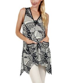 This Blue & White Abstract Handkerchief Tunic is perfect! #zulilyfinds